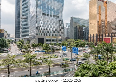 GUANGZHOU, CHINA - MAY 26.:Modern skyscrapers in Guangzhou on May 26, 2018. Guangzhou is one of the major economic cities in China
