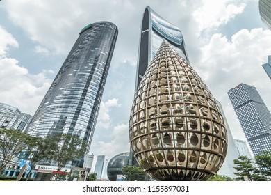 GUANGZHOU, CHINA - MAY 26.:Modern skyscrapers in Guangzhou on May 26, 2018. Guangzhou is one of the major economic cities in China