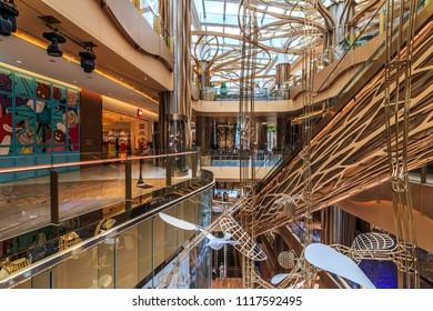 GUANGZHOU, CHINA - MAY 2:Shopping mall in Guangzhou on May 2, 2018. Guangzhou is one of the major economic cities in China