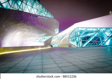 GUANGZHOU, CHINA - NOV. 05: Guangzhou Opera House night  landscape on Nov. 05, 2011 in Guangzhou, China. Designed by architect Zaha Hadid and has become one of the seven new landmarks in Guangzhou