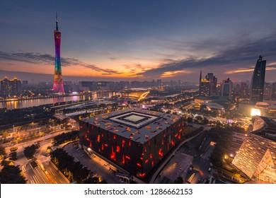 GUANGZHOU, CHINA - Nov 12 2017:Wide-angle aerial view of Guangzhou Zhujiang New Town financial district, Guangdong, China.