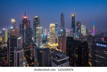 GUANGZHOU, CHINA - Nov 12 2018:.Beautiful wide-angle night aerial view of Guangzhou Zhujiang New Town financial district, Guangdong, China.