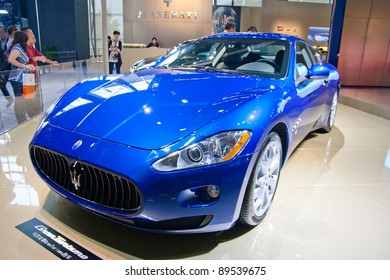GUANGZHOU, CHINA - NOV 25: Maserati blue sport car on The 9th China(Guangzhou) International Automobile Exhibition. on November 25, 2011 in Guangzhou China.