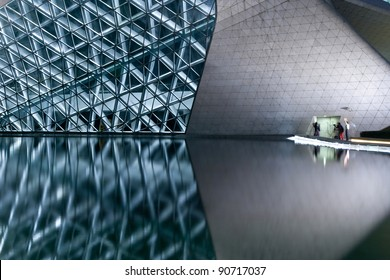GUANGZHOU, CHINA - NOV.19: Guangzhou Opera House night landscape on Nov. 19, 2010 in Guangzhou, China. Designed by architect Zaha Hadid and has become one of the seven new landmarks in Guangzhou