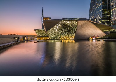 GUANGZHOU, CHINA - NOV.26: Guangzhou Opera House night landscape on Nov. 26, 2015 in Guangzhou,Designed by architect Zaha Hadid and has become one of the seven new landmarks in Guangzhou
