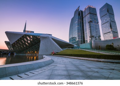 GUANGZHOU, CHINA - NOV.326: Guangzhou Opera House night landscape on Nov. 26, 2015 in Guangzhou,Designed by architect Zaha Hadid and has become one of the seven new landmarks in Guangzhou
