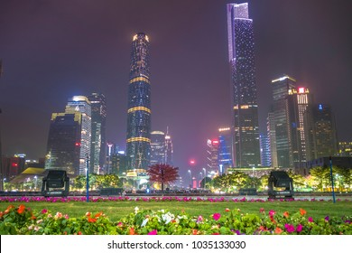 Guangzhou, China - November 8, 2017: Dusk view of the Canton tower as seen from the Flower Square in Guangzhou, China