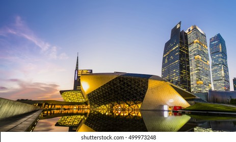 Guangzhou, China - Oct 13 2016: Night view of the Guangzhou Opera House, skyscrapers and other modern buildings at the Zhujiang New Town, China.