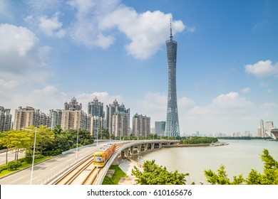 GUANGZHOU, CHINA - OCT 8. The Guangzhou Tower (600 m) on Oct. 8, 2015 in Guangzhou. located at new city axis intersection