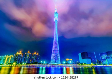GUANGZHOU, CHINA - OCTOBER 16: Night view of the Canton Tower skyscraper, a famous landmark building and popular travel destination on the Pearl River on October 16, 2018 in Guangzhou