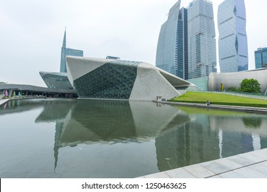 Guangzhou, China – October 23, 2018 : Guangzhou Opera House in Guangzhou, China on October 23, 2018. China Guangzhou Opera House is a landmark building in the city center.