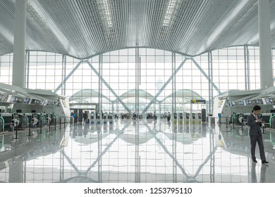 Guangzhou, China – October 25, 2018 : Interior of Guangzhou Baiyun International Airport in Guangzhou, China on October 25, 2018.