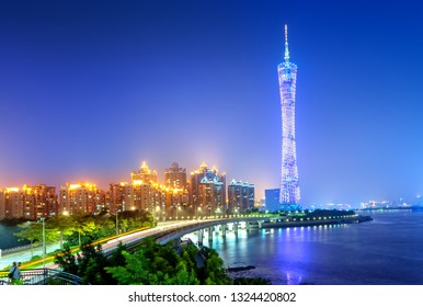 GUANGZHOU / CHINA - OCTOBER 30, 2015: View of Canton tower (600m) in Guangzhou. One of the most famous landmark in Guangzhou city.