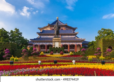 Guangzhou, China - October 4, 2016: Front view of the Sun Yat-Sen memorial hall and flowerbeds in front of it on October 4, 2016 in Guangzhou, China.
