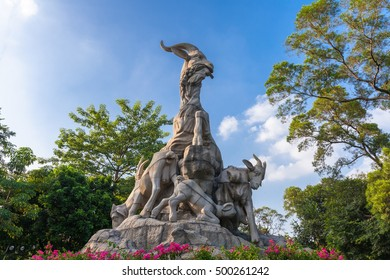 Guangzhou, China - October 4, 2016: Five Rams Statue in Yuexiu Park the symbol of Guangzhou, China on October 4, 2016.