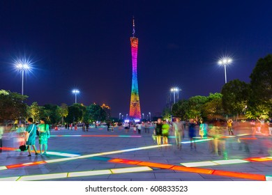 Guangzhou, China - October 4, 2016: Dusk view of the Canton tower as seen from the Flower Square in Guangzhou, China on Octover 4, 2016.