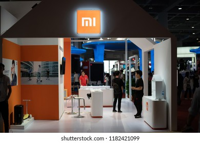 Guangzhou, China - September 14: 2018: Xiaomi Shows Smart Home and Smartphone Technology at China 5g Communication Conference