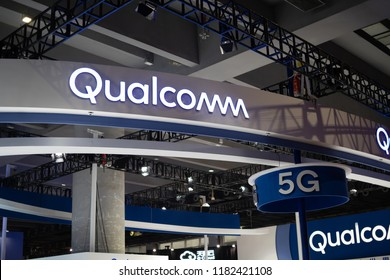 Guangzhou, China - September 14: 2018: Qualcomm's main booth at China's 5g Communications Conference, demonstrating Qualcomm's ability to lead communications technology