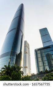 Guangzhou, China - September 16, 2017: Scenic bottom view of skyscrapers at the Zhujiang New Town. Beautiful modern buildings at downtown. Guangzhou is a popular tourist destination of Asia.