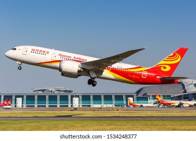 Guangzhou, China – September 24, 2019: Hainan Airlines Boeing 787-8 Dreamliner airplane at Guangzhou airport (CAN) in China.