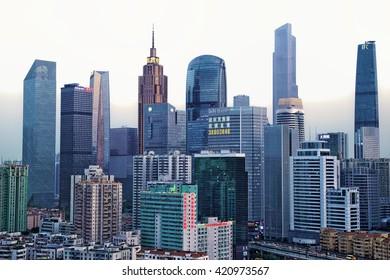 Guangzhou, China-Feb. 29, 2016: Guangzhou city modern buildings in the sunset.