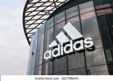 Guangzhou, China-February 4 2018: adidas flagship store front in Guangzhou