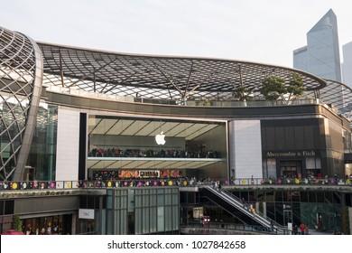 Guangzhou, China-February 4 2018: Apple flagship store in Guangzhou, Tianhe