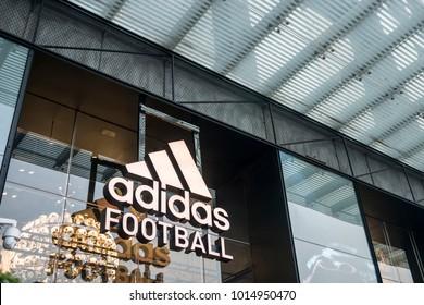 Guangzhou, China-January 20, 2018, adidas store on the street in Guangzhou