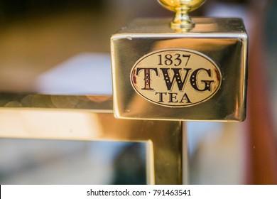Guangzhou, China-October 2, 2016, TWG tea brand sign