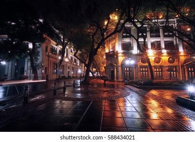 Guangzhou city, Guangdong, China -  night city view after the rain (Shamien Island)