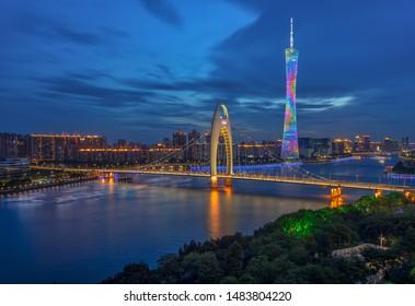 Guangzhou City Guangdong Province China City Skyline Guangzhou Tower and Liede Bridge