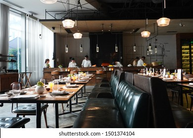 Guangzhou, Guangdong, China. 8/30/2019. This is a photo of the interior of an Italian restaurant called Mercato, which is located on the 8th floor of the K11 shopping mall.