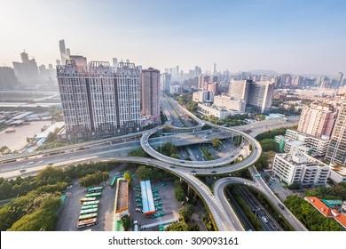 guangzhou interchange road, modern city highway background