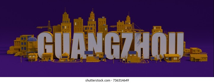 Guangzhou lettering name, 3d rendering city with buildings