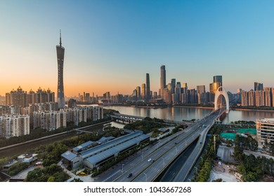 Guangzhou Pearl River New City before sunset