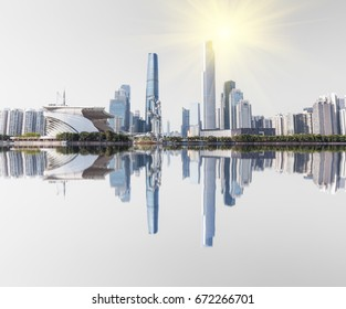 Guangzhou Pearl River New City inverted image of the city, CBD center, landmarks, urban scenery