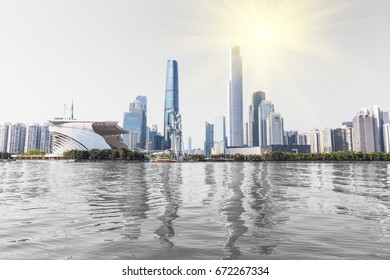 Guangzhou Pearl River New City, gray background, urban scenery, CBD center, landmark buildings, urban scenery