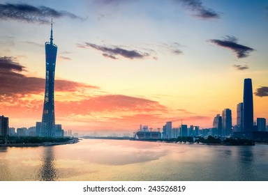 guangzhou in sunset,  city skyline on the pearl river.