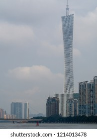 Guangzhou/China - August 16 2018: Canton Tower. Canton Tower  is a 604 metres (1,982 ft) tall multi-purpose observation tower in the Haizhu District of the city of Guangzhou.