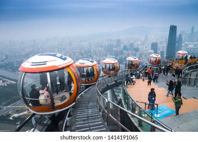 GUANGZHOU,CHINA, December 30, 2018,  Guangzhou cityscape view from cable car (tram) on top outdoor observation deck of Canton Tower at Guangzhou ,China
