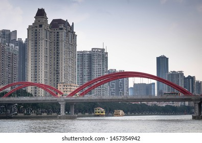Guangzhou/China - JUN 3 2019: The Pearl river, sightseeing walkway and cityscape of the Guangzhou China.  The bridge around belong the river. It's modern and develop.