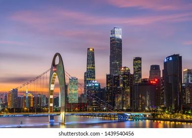 Guangzhou,China - June 14,2019 : wide-angle night aerial view of Guangzhou Zhujiang New Town financial district, Guangdong, China.