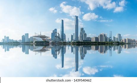 Guangzhou,China - June 14,2019 : wide-angle  view of Guangzhou Zhujiang New Town financial district, Guangdong, China.