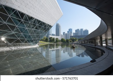 Guangzhou,China - Oct,17,2015:Cityscape of the Guangzhou opera at night.