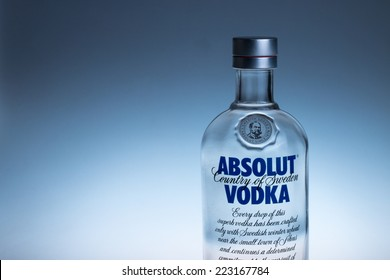 Guangzhou,China - October 10,2014:Bottle of Swedish vodka Absolut.