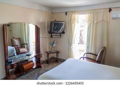 GUANTANAMO, CUBA - FEB 3, 2016: Room in a Casa Particular (private homestay) in Guantanamo