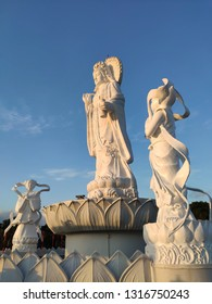 Guanyin statue and blue sky