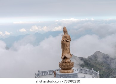 GuanYin Statue on the top of Fansipan Indochina Vietnam Mar 2017.