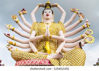 Guanyin statue in Wat Plai Laem temple in Koh Samui, Surat Thani, Thailand.