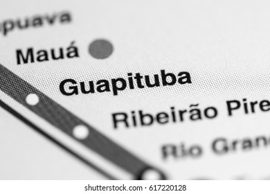 Guapituba Station. Sao Paolo Metro map.